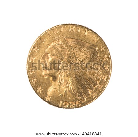 An authentic gold Indian Quarter Eagle coin minted 1925 in the  United States.  Designed by Boston sculptor Bela Lyon Pratt, it has an unusual incused design. The face value is $2.50.  Isolated. - stock photo