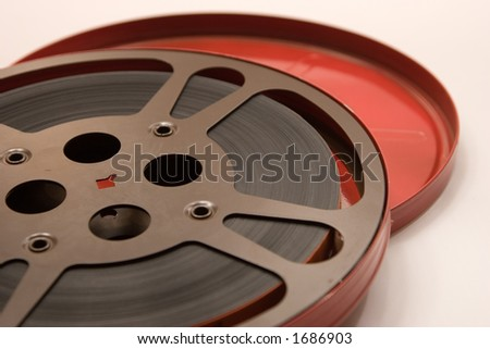 An authetic film reel for olden days movie watching - stock photo