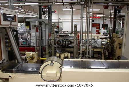 An automated factory interior. - stock photo