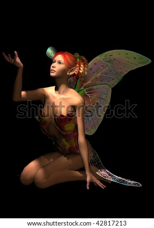 An autumn fairy kneeling looking up into the light and holding her hand toward the light shining down on her.