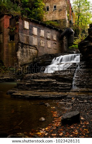 An autumn glance at the long abandoned Van Nattas Pumping Station and mill at Wells Falls in Ithaca, New York.