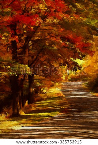 An autumn scene of a quiet country lane in the Poconos of Pennsylvania, turned into a colorful painting