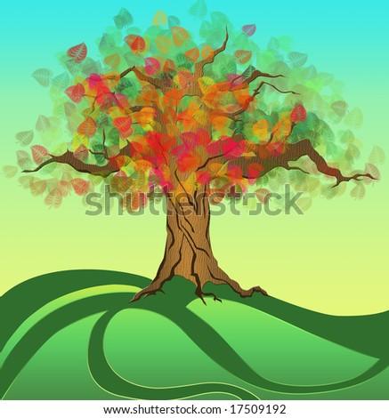 An Autumn tree - stock photo