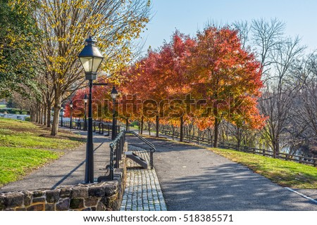 An Autumn view of Park Avenue in historic Smithtown in Burlington County New Jersey.