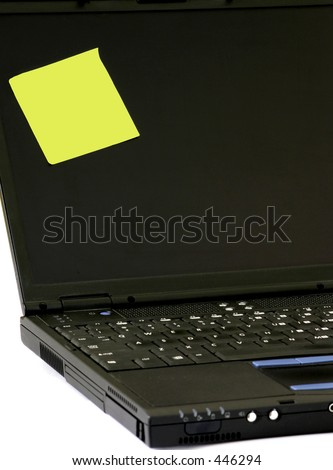 "An blank ""sticky note"", good for designers to add their own words, on a laptop. Gives impression that laptop's user is out of office and a ""while you were out"" note was left by his secretary."