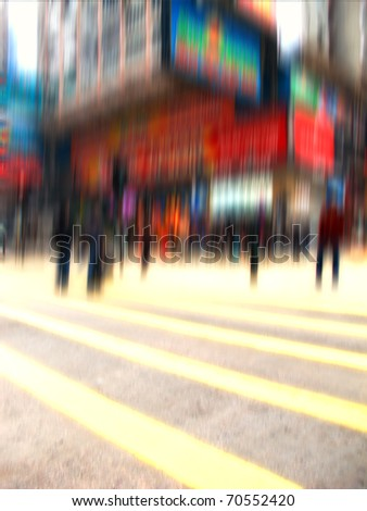 an blurred illustrative imange of city life in New York - stock photo