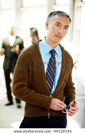 An candid image of a business man - stock photo