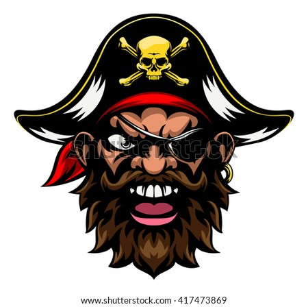 An cartoon mean tough looking pirate sports mascot character - stock photo
