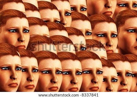 An conceptual background image made out of women's faces that are sad
