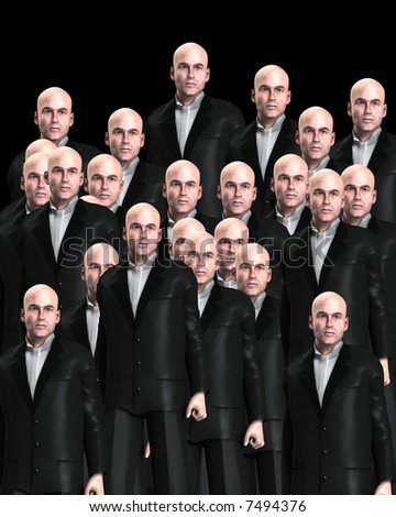 An conceptual image of a background crowed of identical men.
