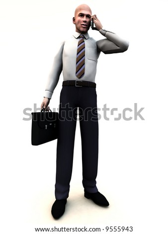 An conceptual image of a business man standing holding a briefcase and phone