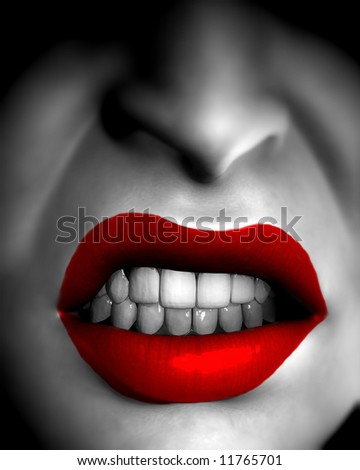 An conceptual image of a very angry female mouth.