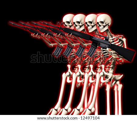 An conceptual image of some skeletons with guns, it would be good to represent concepts of war,crime and Halloween