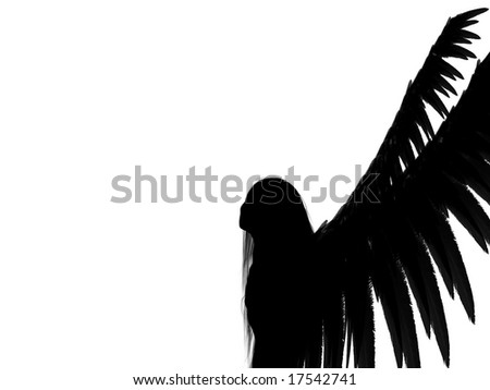 An 3D rendered angel silhouette with unfolded wings on white background. With copy space.