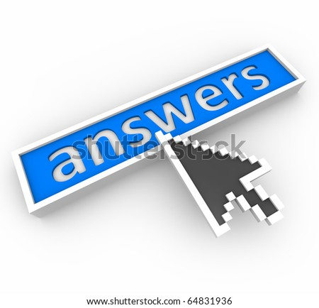 An digital arrow points to a blue button marked Answers - stock photo