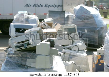 An E Waste drop off location up on Earth Day - stock photo