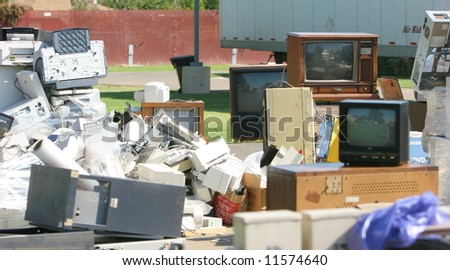 An E Waste pick up on Earth Day - stock photo