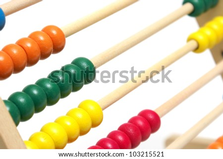 An early educational abacus for learning math. - stock photo