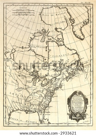 An early map of Eastern North America printed in France in 1752. - stock photo