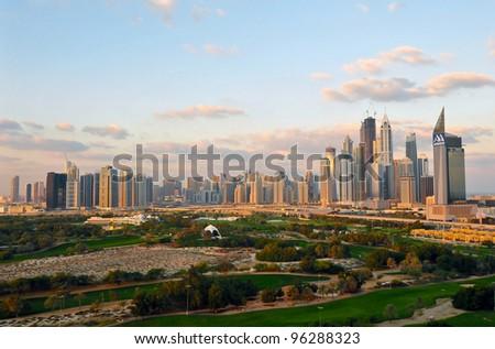 An early morning panoramic view of Dubai high-rises - stock photo