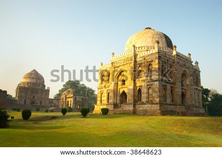 An early morning scene from the lovely Lodhi Gardens in New Delhi, India - stock photo
