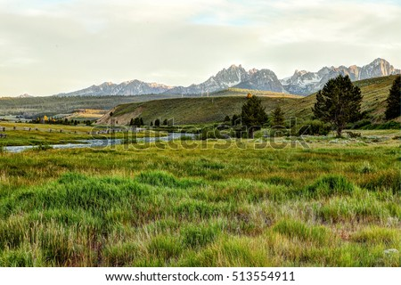 An early morning view of the Sawtooth Mountains in Idaho, looking over the Salmon River.