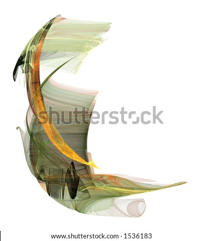 An earth-toned Asian influenced form rendered on a pure white background. - stock photo