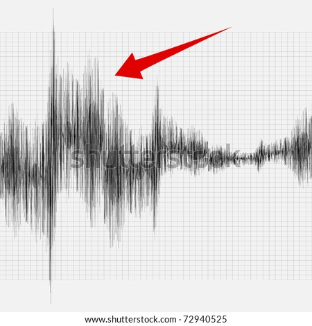 An earthquake on the graph of seismic activity. - stock photo