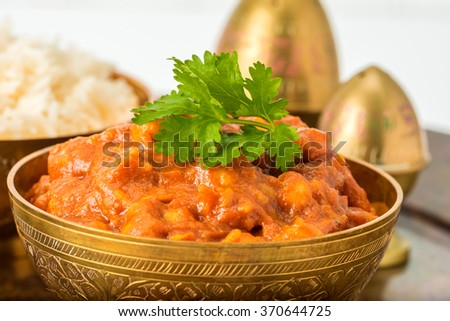 An East Indian dish of chick peas in a spicy tomato onion sauce. - stock photo