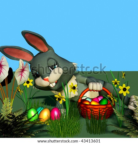 An easter-bunny is searching eggs - stock photo