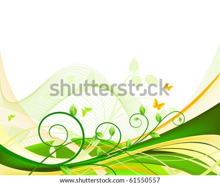 An eco green environment swirl patter background with green leaves and butterflies - stock photo