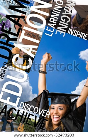 An education montage or layout with photos and text of students and graduates.  Plenty of copyspace for your text or logo. - stock photo