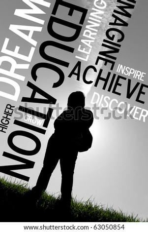 An educational montage or layout with a back-lit silhouette of a female student with her backpack.  Plenty of copy space.  Selective color. - stock photo