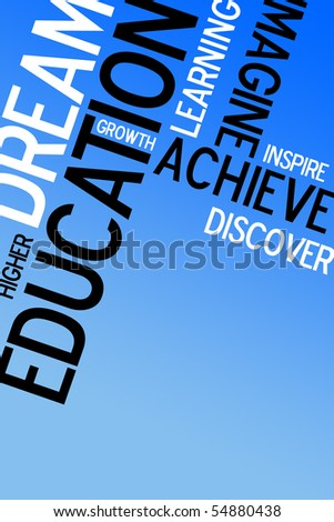 An educational montage with text over a blue background.  Plenty of copy space for your text or images. - stock photo