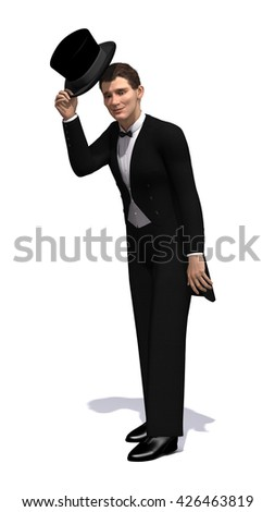 An Edwardian gentleman tips his hat in greeting - 3d render. - stock photo