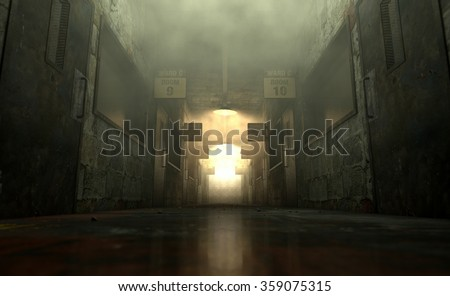 An eerie haunted look down the dimly lit passage of a dilapidated mental asylum with rooms and signs - stock photo