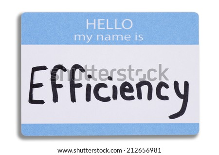 An efficiency name badge - stock photo