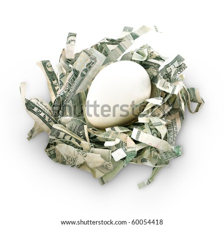 An egg is on top of shredded money as a nest. Represents saving money and preparing for the future. Use it for a retirement or security concept.