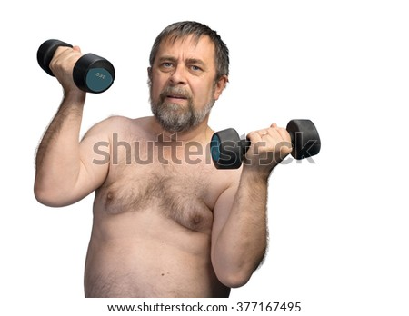 An elderly fat man exercising with dumbbells isolated on white with copyspace