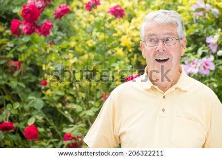 An elderly man is looking to the left surprised with a beautiful rose bush background - stock photo