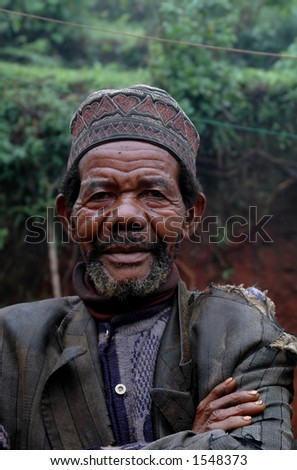 an elderly Tanzanian man - stock photo