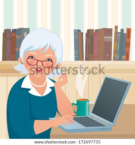 An elderly woman smiles at the camera while sitting at a laptop/Elderly woman using a laptop/Illustration of an elderly woman using a laptop - stock photo