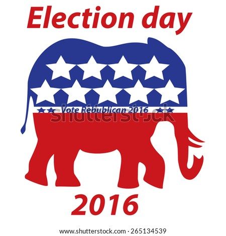 An Election 2016 red white and blue sign for the republican party - stock photo