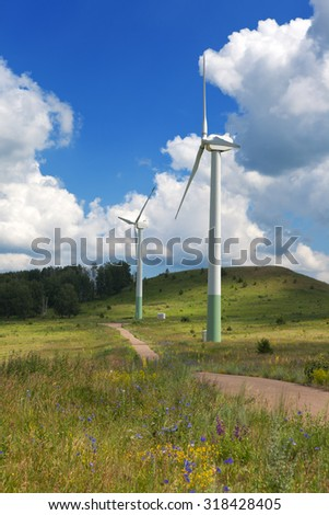 An electric power generator, a wind-operated - stock photo