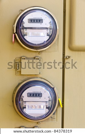 An Electric Power Meter Reading Energy Usage - stock photo