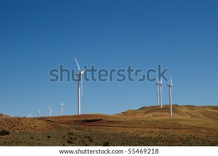 An electric wind farm in the desert of eastern Oregon - stock photo