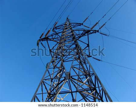 An electricy transmission line - stock photo