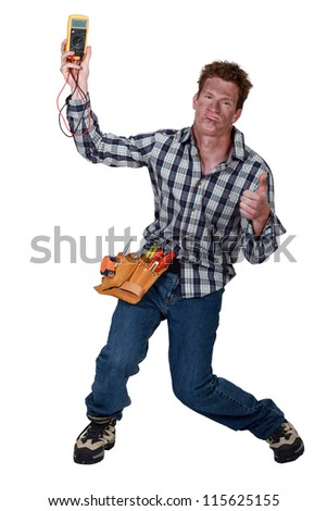 An electrocuted man staggering - stock photo