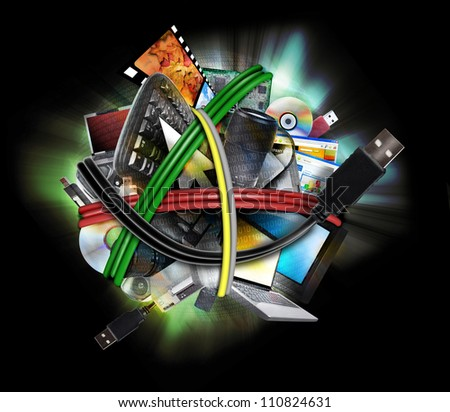 An electronic computer ball with usb cords wrapped around different communication devices such as a tv, keyboard, laptop and camera lens. Use it for a storage or media transfer concept. - stock photo