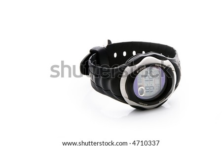 an electronic watch on the white background
